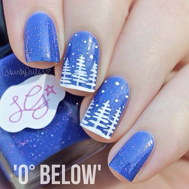 Winter Tree Nail Design