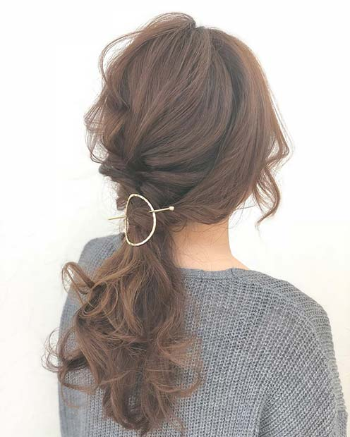 Curly Accessorized Low Ponytail