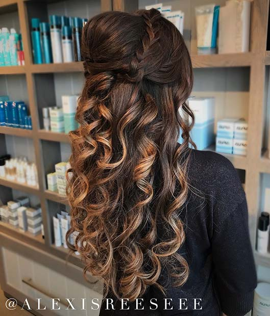 Curly Braided Half Updo