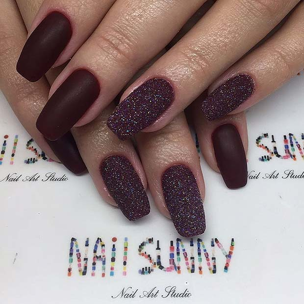 Matte Burgundy and Glitter Nails