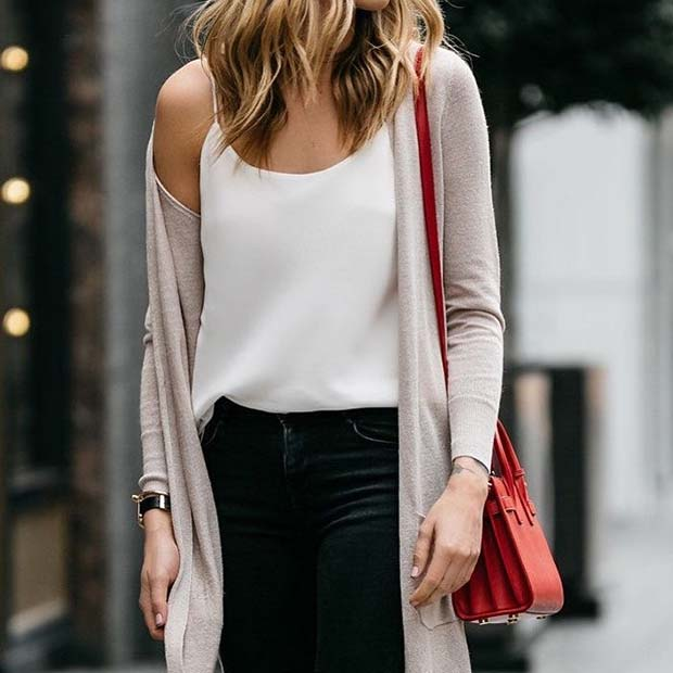 Cardigan and Jeans Outfit Idea