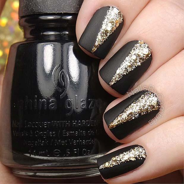 Matte Black and Gold Glitter Nail Design