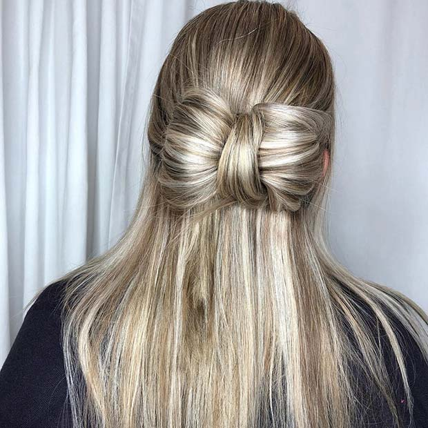Cute Half Up Half Down Bow Style