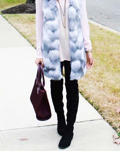 Faux Fur Gilet and Jeans