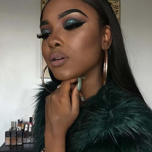Glam Green Glitter Eye Makeup