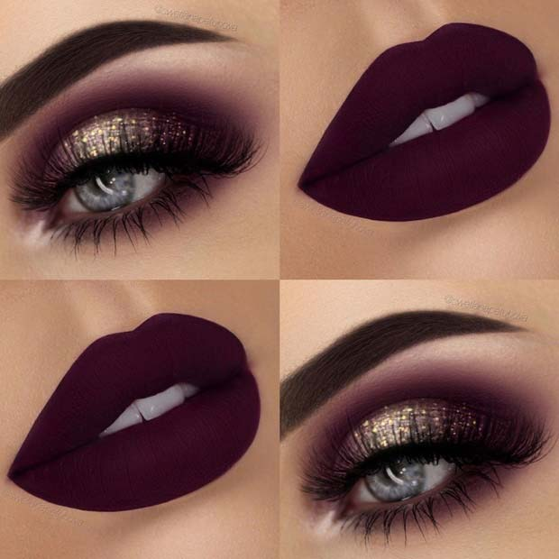 purple and gold smokey eye tutorial