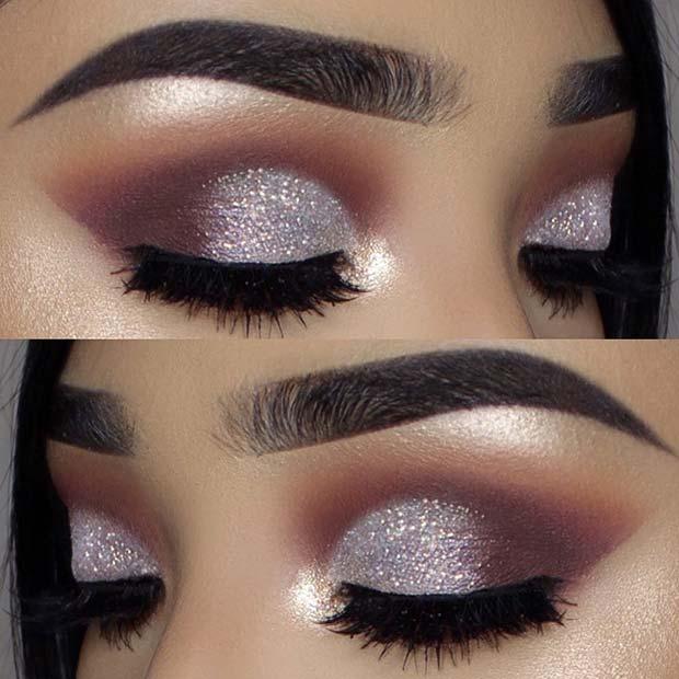 Silver Glitter Smokey Eye Idea