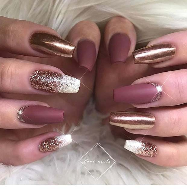 Gold, Pink and White Coffin Nails