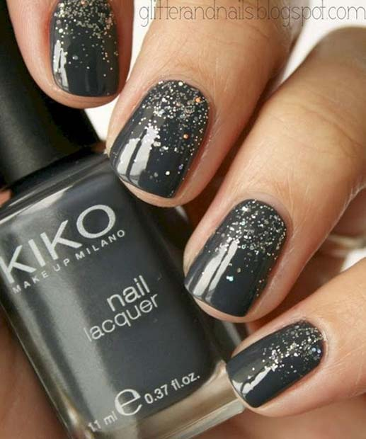 Grey and Glitter Nail Design for Short Nails