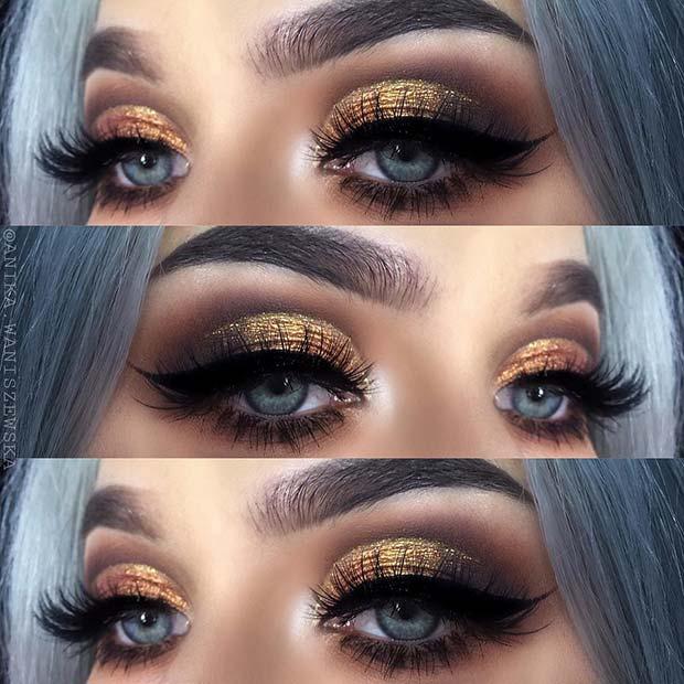 NYE Gold and Brown Smokey Eye Look