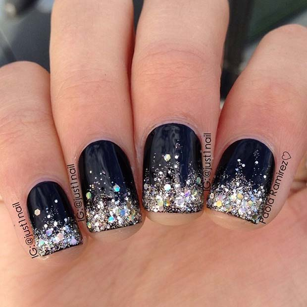 Dark Nails with Silver Glitter