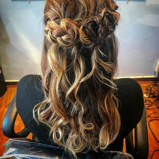 Pretty Braided Half Up Half Down Hairstyle