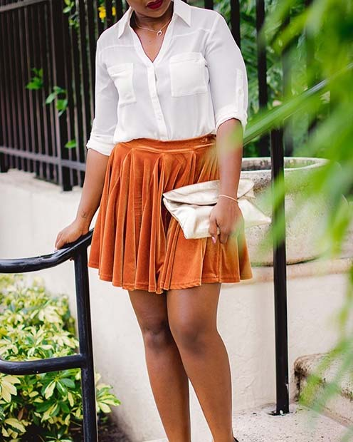 White Shirt and Orange Skirt