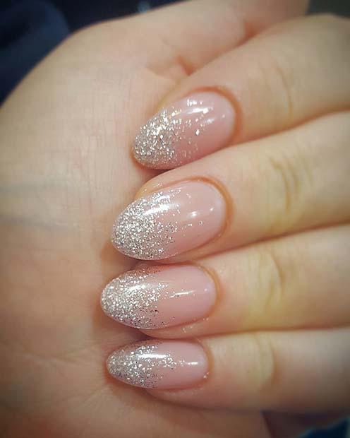 Elegant Silver Glitter Nails