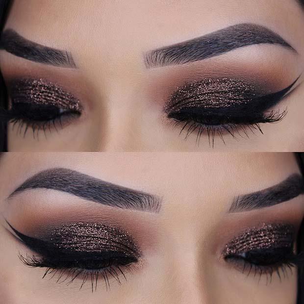 Sparkly Dark Glitter Eye Makeup