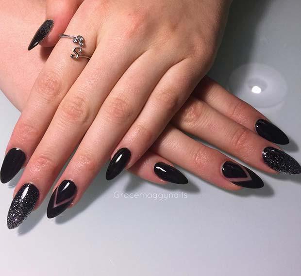 Edgy Black Nail Idea