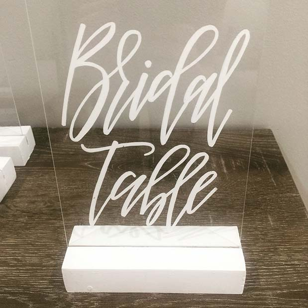 Stylish Bridal Table Sign Idea