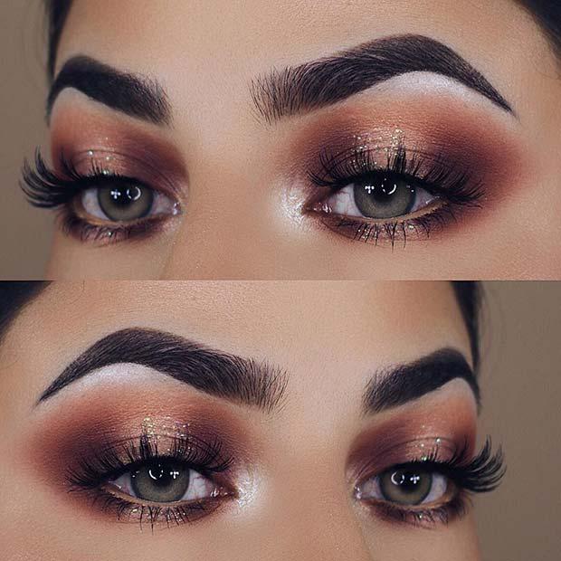 Subtle Glitter Eye Makeup Idea