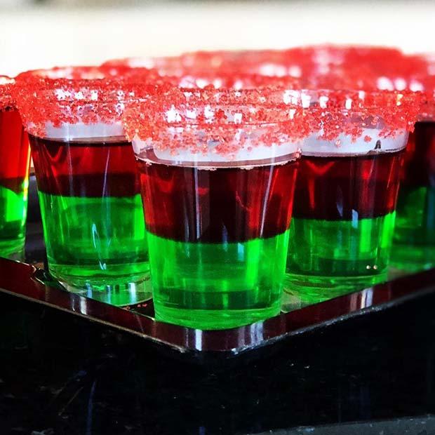 Vibrant Layered Jello Shots