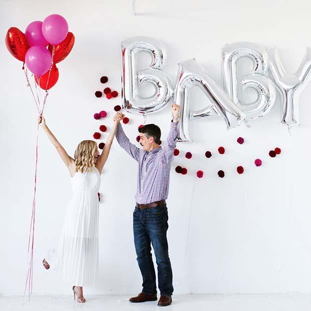 Baby Balloon Pregnancy Announcement Idea