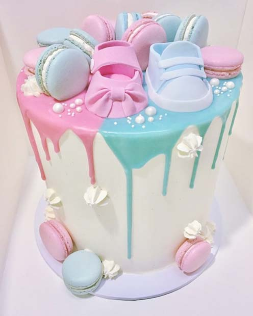Blue and Pink Baby Shower Cake