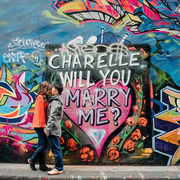Creative Graffiti Wedding Proposal