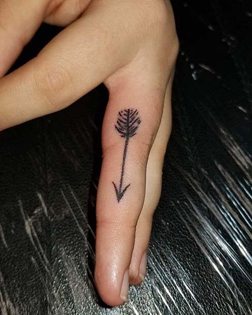 Cute Arrow Finger Tattoo Design