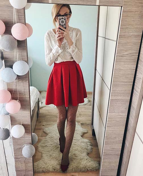 Cute Red Skirt Outfit Idea