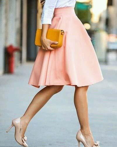 Pink Midi Skirt and Nude Heels