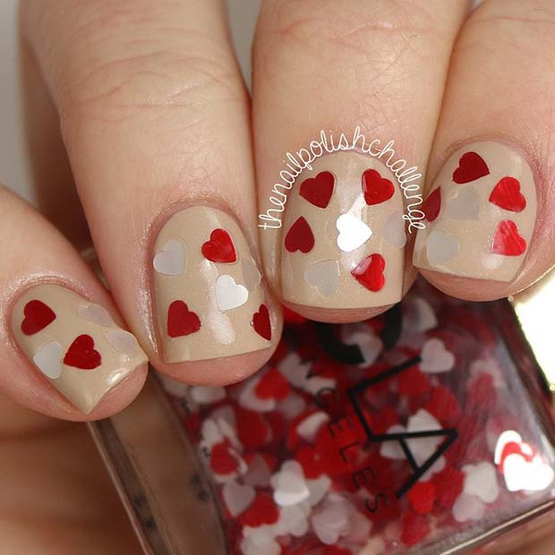 Embellished Heart Nails