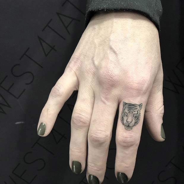 Fierce Tiger Finger Tattoo