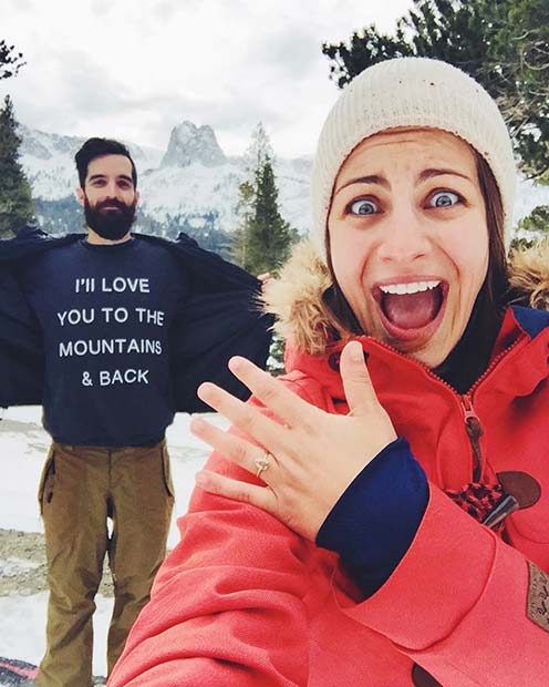 Funny Marriage Proposal in Mountains