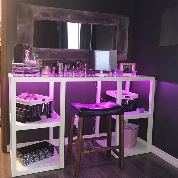 Funky Makeup Vanity With Purple Lights