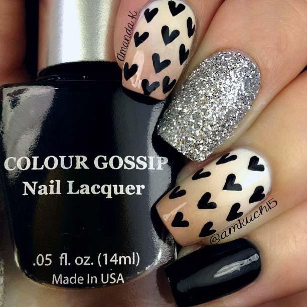Glitter and Black Heart Nail Art