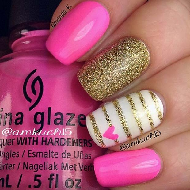 Pink and Gold Glitter Heart Nails