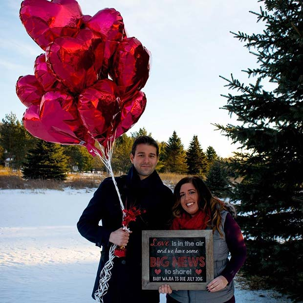 Heart Balloons and Chalkboard Pregnancy Announcement