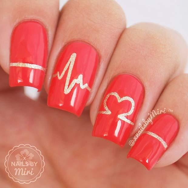 Heartbeat Nail Design