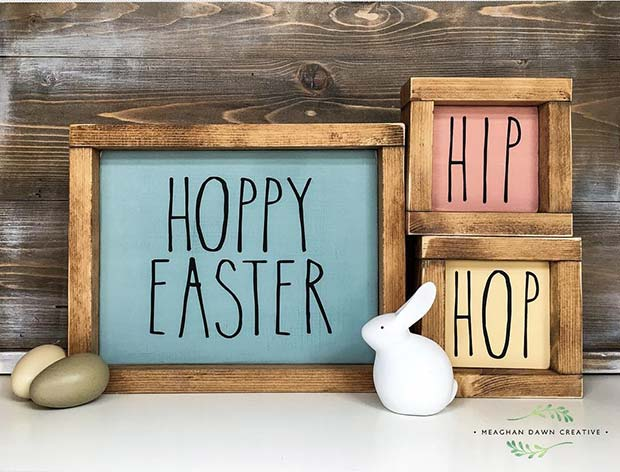 Hoppy Easter Frames Decor Idea
