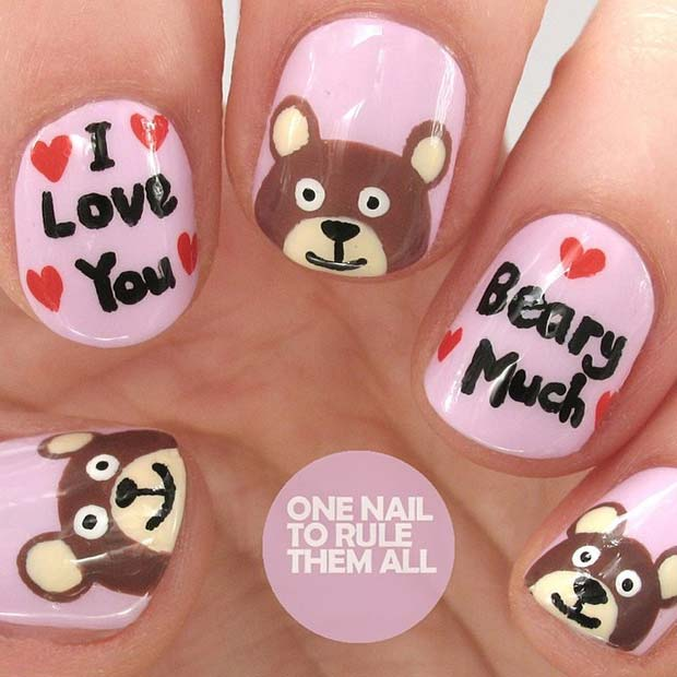 I Love You Beary Much Nail Art