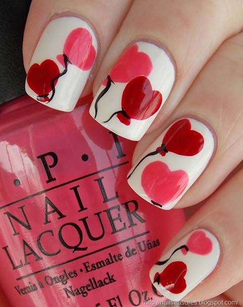 Love Heart Balloon Nail Design