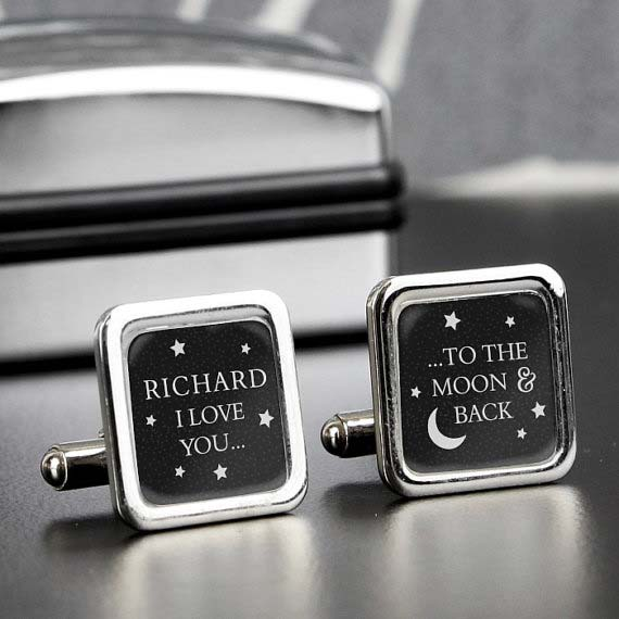Personalized Moon and Back Cufflinks
