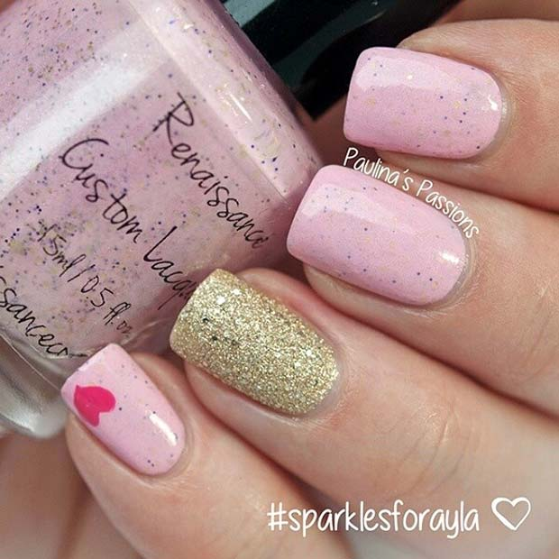 Pink, Glitter and Heart Nail Design