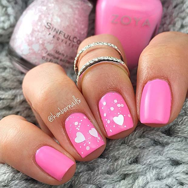 Pink and White Heart Nails