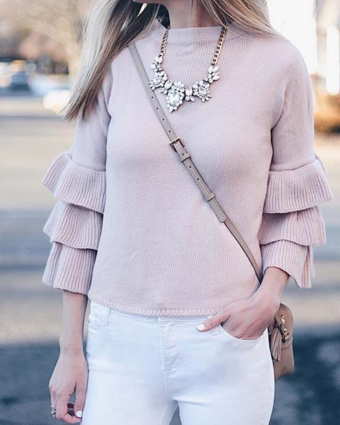Pretty Sweater and Statement Necklace
