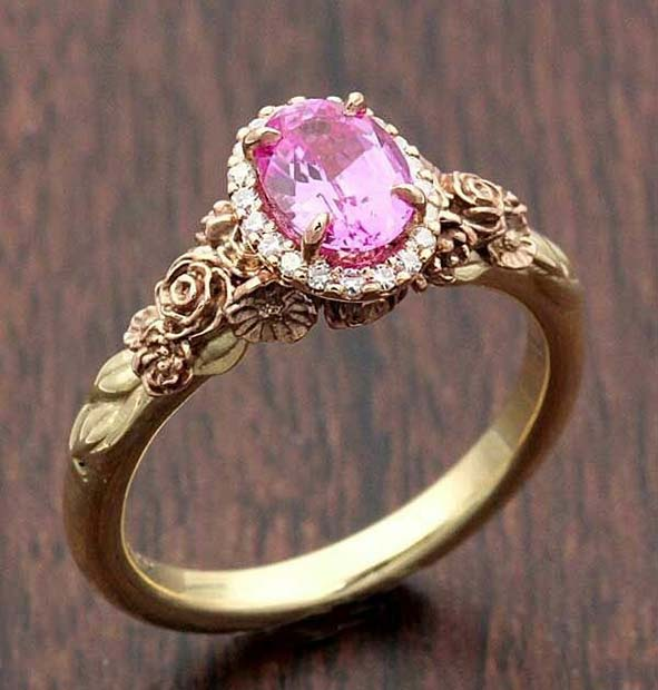 Gold and Pink Princess Engagement Ring