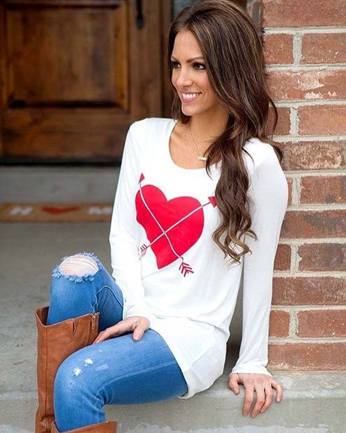 Red Heart Sweater Outfit