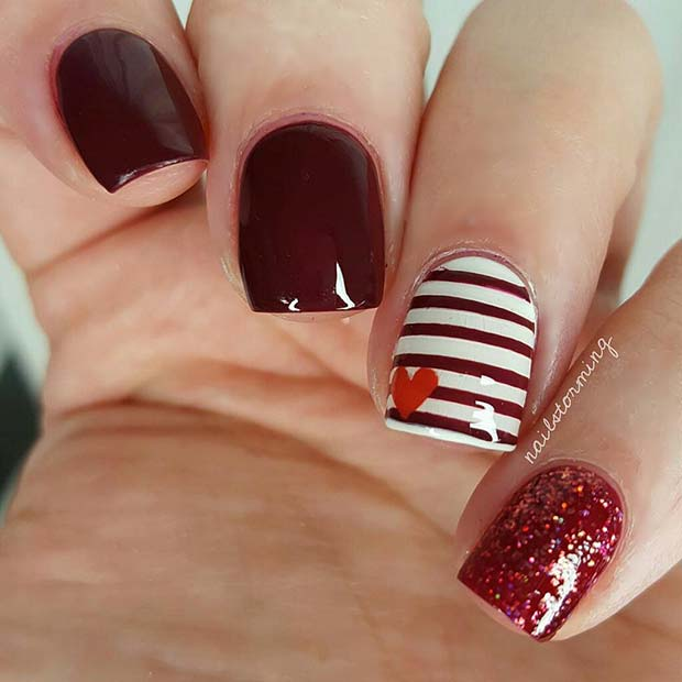 Red, Stripe and Heart Nail Art
