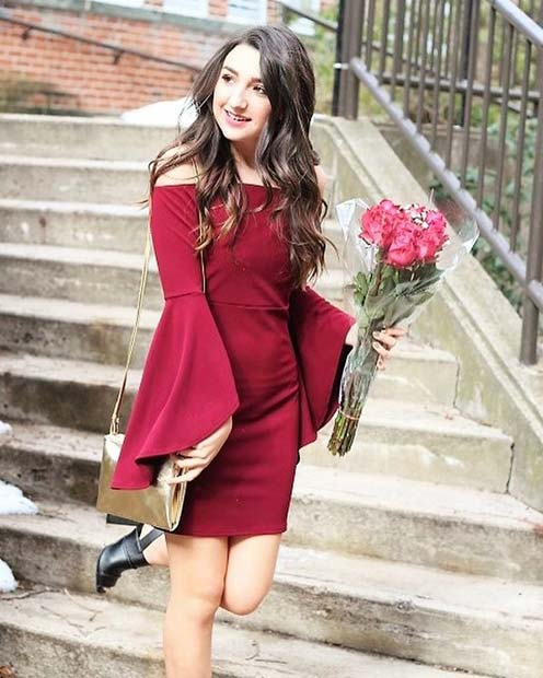 Statement Red Dress Outfit Idea