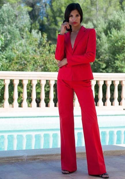 All Red Women's Suit Outfit