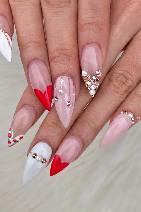 Stiletto Nails with Heart Tips